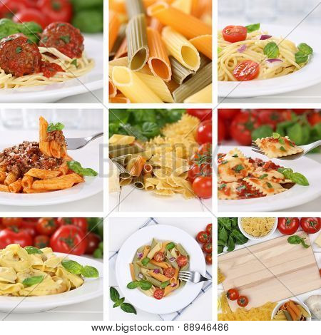 Italian Cuisine Collection Of Ingredients For A Spaghetti Pasta Noodles Meal With Tomatoes