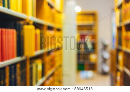 Unfocused Blurred Background Of Old Vintage Books