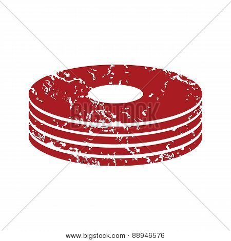Red grunge disk logo