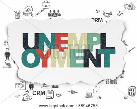 Finance concept: Unemployment on Torn Paper background
