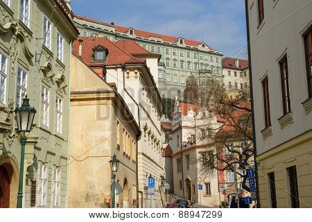 View Of Snemovni Street Toward Prague Castle, Czech Republic.