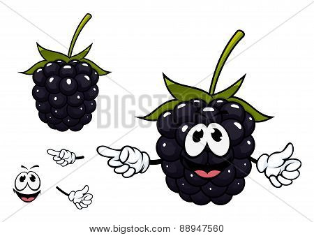 Funny ripe blackberry fruit character