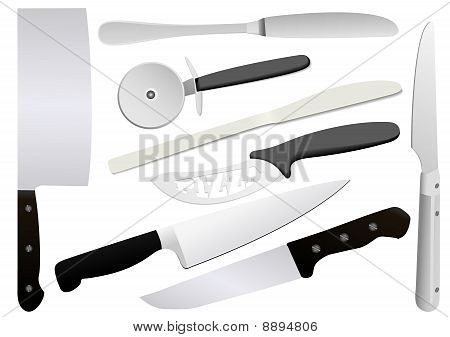 Illustration of detailed knifes, isolated on white background