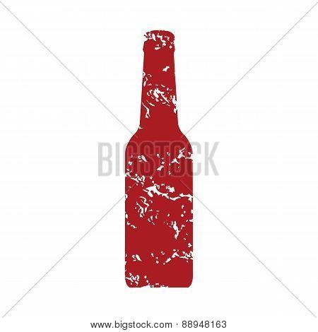 Red grunge bottle logo