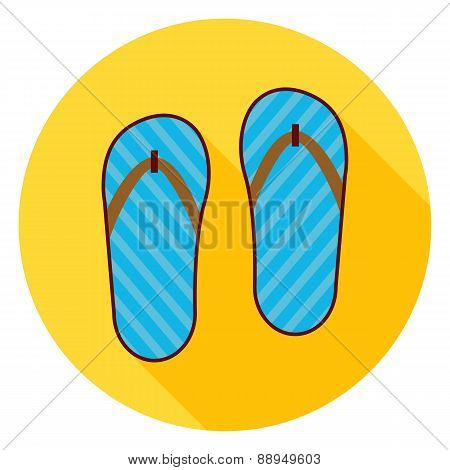 Flat Flip Flops Shoes Circle Icon With Long Shadow