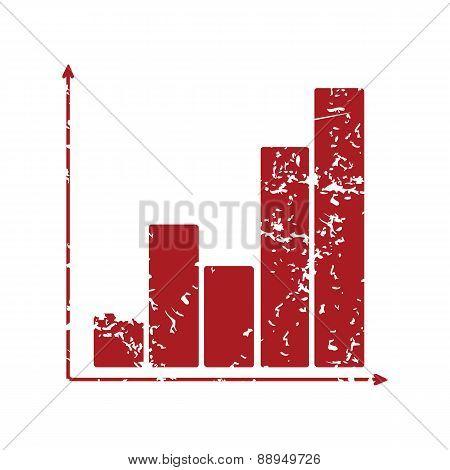 Red grunge chart logo