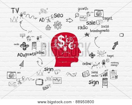 Marketing concept: Head With Finance Symbol on wall background