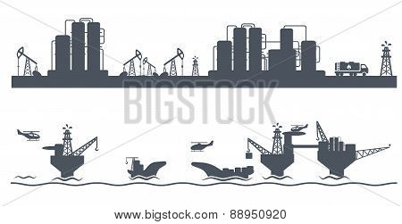 Horizontal seamless background Petroleum industry