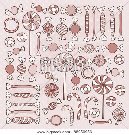 Sketch Candies Sweets Hand Drawn Objects Set
