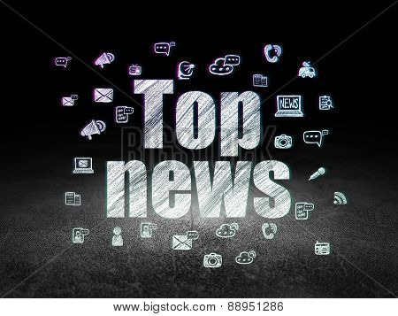News concept: Top News in grunge dark room