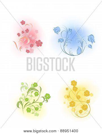 Four Flowers Set