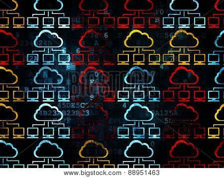 Cloud networking concept: Cloud Network icons on Digital