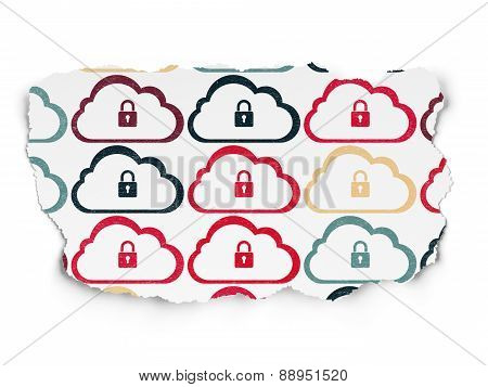 Cloud technology concept: Cloud icons on Torn Paper