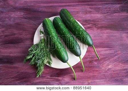 Three Cucumbers And Bunch Of Dill