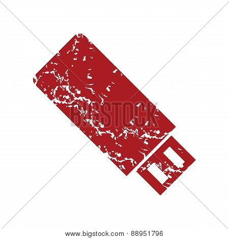 Red grunge usb stick logo
