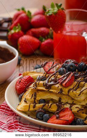 Belgian Waffles With Blueberries, Strawberries