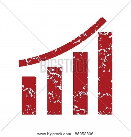 Red grunge growing graph logo