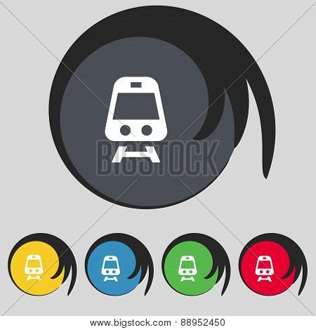 Train Icon Sign. Symbol On Five Colored Buttons. Vector