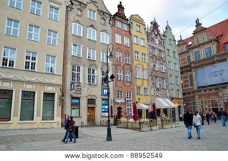 Dlugi Targ square in Gdansk Poland.
