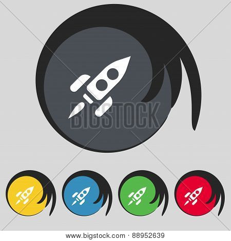 Rocket Icon Sign. Symbol On Five Colored Buttons. Vector