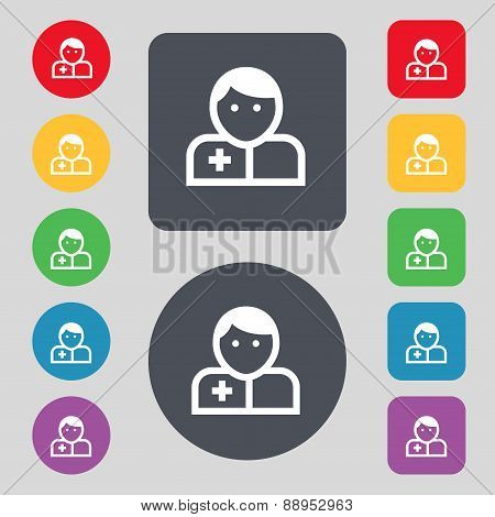 Doctor Icon Sign. A Set Of 12 Colored Buttons. Flat Design. Vector