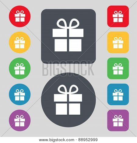 Gift Box Icon Sign. A Set Of 12 Colored Buttons. Flat Design. Vector