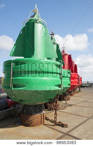 Colored navigation buoys