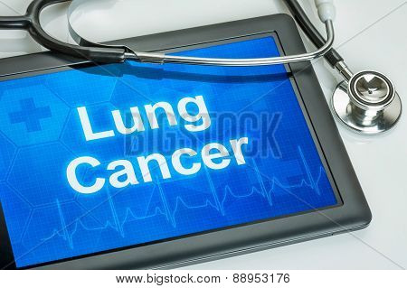 Tablet With The Diagnosis Lung Cancer On The Display