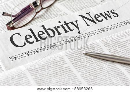 A Newspaper With The Headline Celebrity News