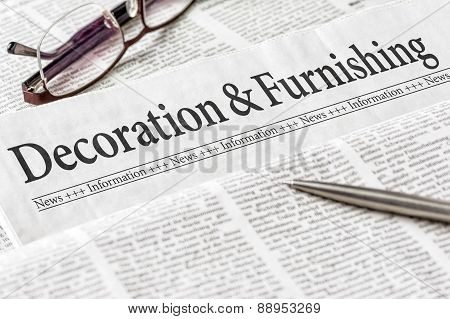 A Newspaper With The Headline Decoration And Furnishing