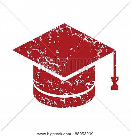 Red grunge graduate cap logo