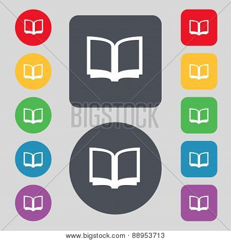 Open Book Icon Sign. A Set Of 12 Colored Buttons. Flat Design. Vector