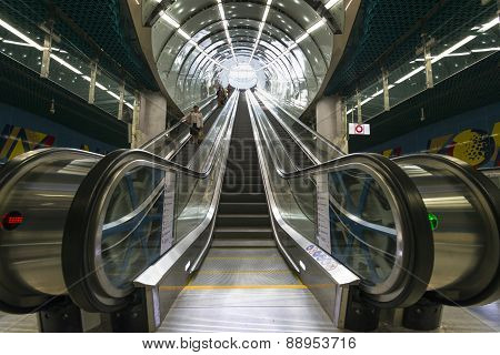 Electric Stairs At The Cnk Station Of Warsaw Subway Second Line