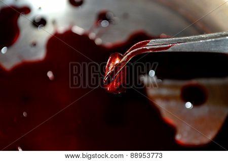 Bloody bullet in tweezers