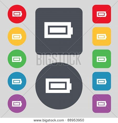 Battery Fully Charged Icon Sign. A Set Of 12 Colored Buttons. Flat Design. Vector