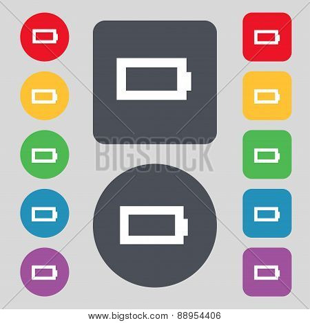 Battery Empty Icon Sign. A Set Of 12 Colored Buttons. Flat Design. Vector