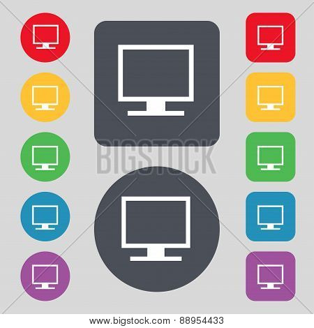 Computer Widescreen Monitor Icon Sign. A Set Of 12 Colored Buttons. Flat Design. Vector