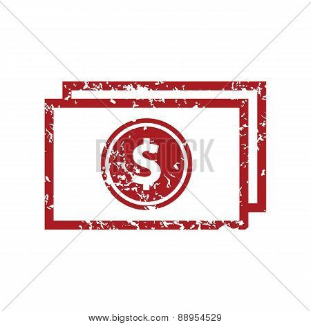 Red grunge money logo