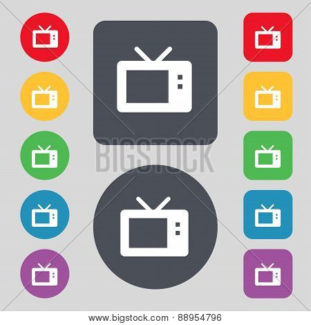 Retro Tv Mode Icon Sign. A Set Of 12 Colored Buttons. Flat Design. Vector