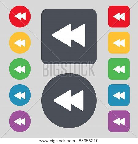 Rewind Icon Sign. A Set Of 12 Colored Buttons. Flat Design. Vector