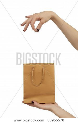 Woman Hand Pretending To Hold Something Isolated Over White