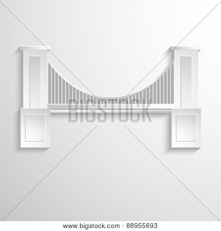 Bridge abstract silhouette on white paper background.