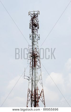 The white antenna pole on white background