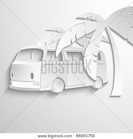 Tropical Camper Van, vector background