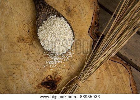 Wooden Spoon Rice, Wood Floors, Brown, Jasmine Rice, Surface.