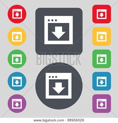 Arrow Down, Download, Load, Backup Icon Sign. A Set Of 12 Colored Buttons. Flat Design. Vector