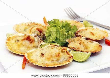 Parmesan in a shell gratin peruvian dish.