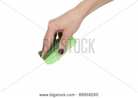 Woman Hand Using Green Sponge Isolated Over White