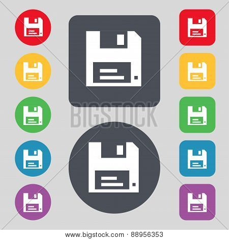 Floppy Icon Sign. A Set Of 12 Colored Buttons. Flat Design. Vector