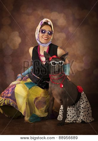 Portrait Of 1950's Styled Woman With A Dog